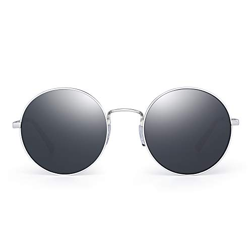 JM Retro Runden Sonnenbrille Metall Flach Spiegel Kreis Stempunk Brillen Damen(Silber/Grau)