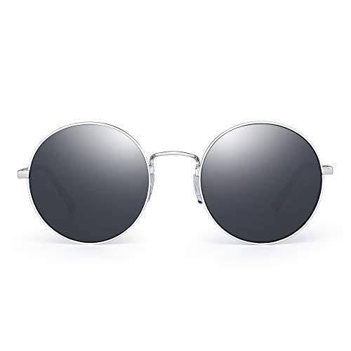 098db5dc25 JM Retro Redondas Gafas de Sol Metal Plano Espejo Círculo Steampunk  Anteojos Mujer(Plateado/