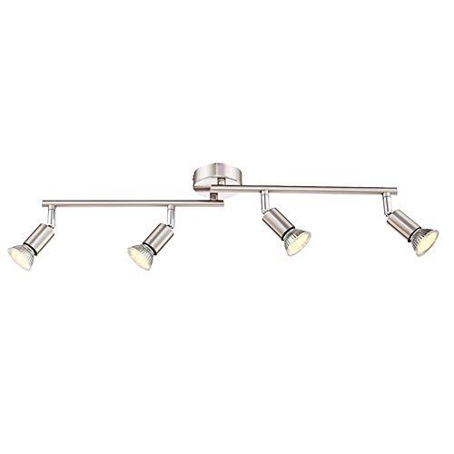 UISEBRT - Lámpara de techo LED, focos orientables, incluye 4 bombillas COB...