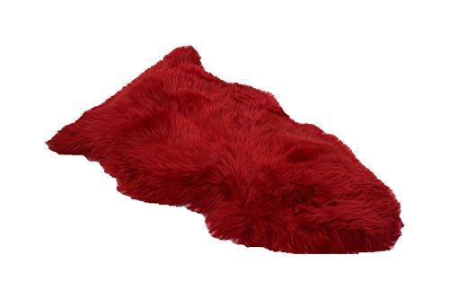 Schaffell Lammfell Langhaar Naturfell Teppich Läufer Dekofell (rot, 100 - 110cm) (Läufer Teppich Griff)