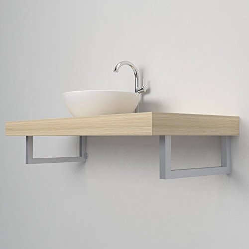 Ve.ca-italy reggimensola porta asciugamani 001 arredo bagno per mensole lavabo d'appoggio (sinistro, alluminio metallizzato)