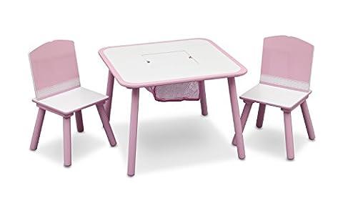 Delta Children Table et Chaises avec Rangement Intégré, Couleur Rose