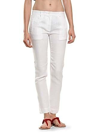 Women White Linen Ankle-Length Trousers