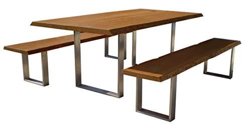 Sitzgarnitur Elegance I Bank und Tisch aus massiver Eiche   Made in Germany   Gartenmöbel oder Parkbank I Sitzgruppe I Holzmöbel I Massivmöbel I Outdoormöbel