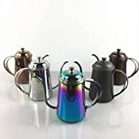 304 Stainless Steel More Narrow Hand Blunt Pot Coffee Fine Mouth Pot Drip Brewed Coffee Filter Teapot Court Pot 650ml Cafe Tools