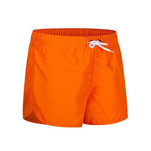 MOTOCO Herren Shorts Badehose schnell trocken Strand Surfen Laufen Schwimmen elastische Taille gespleißt Watershort Hose(L,Orange) (Shorts Jordan Orange)