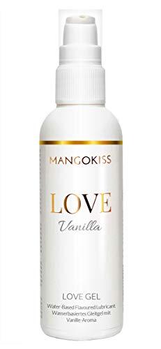 MangoKiss LOVE VANILLA - Essbares Gleitgel mit Vanille Geschmack - Veganes Gleitmittel auf Wasserbasis - kondomgeeignet, für Oralverkehr und Sex