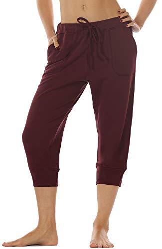 icyzone Damen Hosen 3/4 Sweathose Jogginghose Baggy Casual Pants Sporthose (M, Wine) - Womens Stretch-baumwolle-yoga Pant