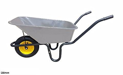 110L Metal Pan Heavy Duty Wheelbarrow 110 Litre Garden Equestrian Wheel Barrow