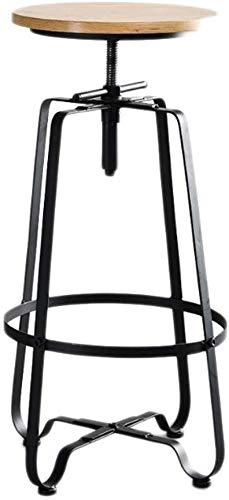 High stool Barstuhl Metall Küchenhocker Rund Retro Industrial Style Höhenverstellbarer Stuhl 360 ° Drehbarer Designer-Hocker, Einsetzbar In Der Home-Kitchen-Bar (Farbe: Schwarz)