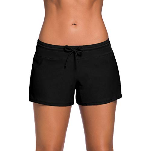 Avacoo Damen Bikini Hose Badeshort für Damen Badehose Badeshorts Schwarz Bikini Shorts XXL 44