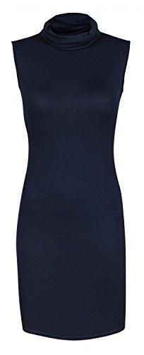 Capri Moda - Femme Basique Mini Robe moulante col roulé - sans manches - CAROL Marine
