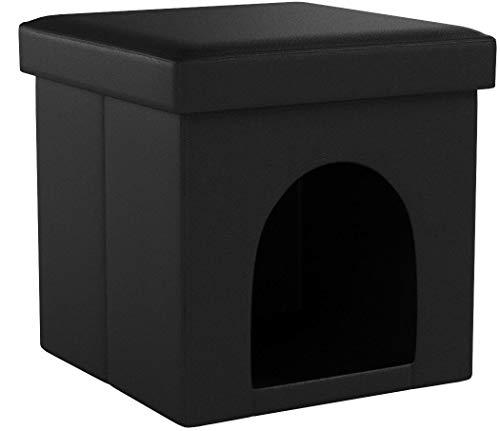 Relaxdays Hundebox Sitzhocker HBT 38 x 38 x 38 cm Stabiler Sitzcube mit praktischer Tierhöhle für Hunde und Katze aus hochwertigem Kunstleder und Deckel zum Abnehmen für Ihren Wohnraum, schwarz
