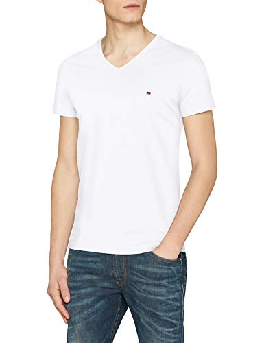 Tommy Hilfiger Herren T-Shirt CORE Stretch Slim Vneck Tee, Weiß (Bright White 100), Large