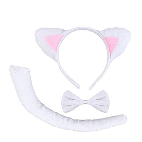 Katze Kostüm Set - Inception Pro Infinite Kostüm-Set - Verkleidung - Karneval - Halloween - weiße Katze - Stirnband - Ohren - Schwanz - Schmetterling - Erwachsene - Frau - Mädchen