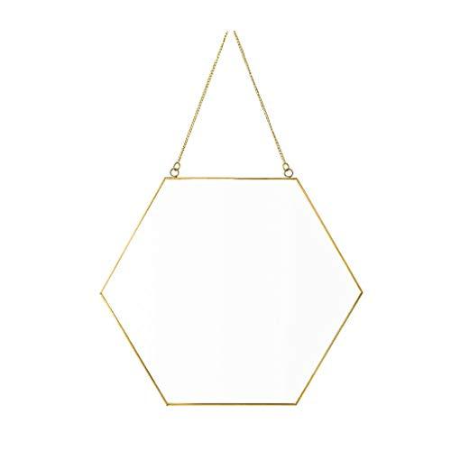 Miroirs De Salle De Bains Nordique Géométrie Minimaliste en Laiton Hexagonal De Maquillage Tenture Murale Porche (Color : Gold, Size : 30 * 26 * 3cm)