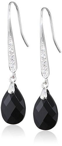 Elements Silver Women's 925 Sterling Silver Cubic Zirconia Teardrop Black Hook Earrings