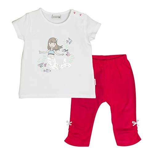 SALT AND PEPPER Baby-Mädchen Bekleidungsset Set Meer Uni Print Mehrfarbig (White Hibiscus Red 010-360) 68
