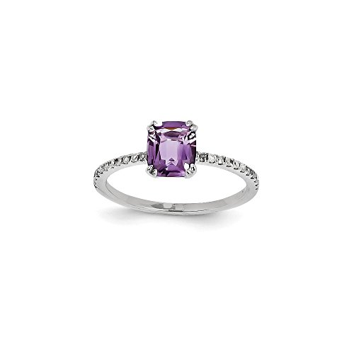 Sonia Jewels Solid White Gold Engagement Ring of 14 Carat and Purple Faux Amethyst Square (1 mm)