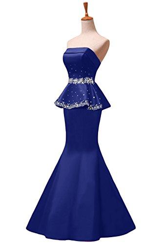 Sunvary elegante, con strass, motivo: sirena senza spalline abiti da sera o da cerimonia, con diamanti Blu