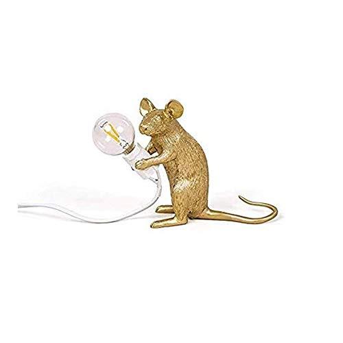 FYMDHB886 Einfache Gold Harz Maus Lampe Tischlampe Kreative LED Schreibtischlampe Geschenk Dekoration Wohnzimmer Büro Kinder Schlafzimmer Nachttischlampe Arbeitszimmer Leselampe