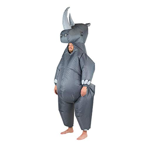 Kostüm Rhino - Bodysocks Fancy Dress 5060298041289 Kostüm, Unisex Adult, mehrfarbig