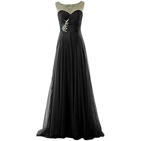 MACloth Women Crystal Chiffon Long Prom Dress Wedding Party Formal Evening Gown