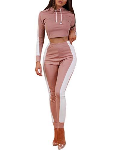 Minetom Damen Sportanzüge Jogginganzug Sport Sets Hosen und Crop Top Kapuzenpullover Hoodie Bekleidungssets Langarm Yoga Outfit Streifen Jogginghose Leggings Rosa DE 42