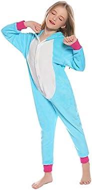 Hawiton Pijama para niñas Invierno,Pijama a diseño Estrella de Franela,Calentar Camiseta de Manga Larga y pant