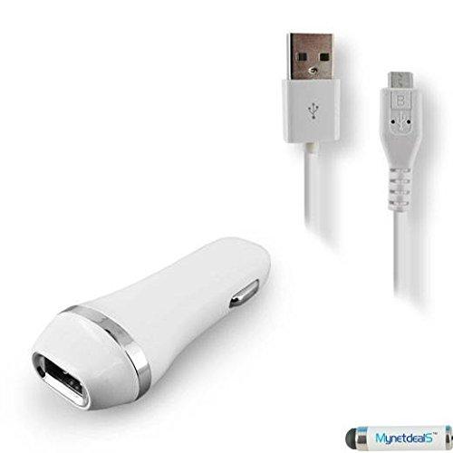 2-in-1Micro-USB-Ladegeräte To-do off Auto Kits für Blackberry Passport/Get it/Z10/Q10/Z30/Z20/R10/Classic/Q20/Z3/9720/Q5/Insurrectionary 9900/Porsche Governor P '9983(weiß)–2,1Ah KFZ-Ladegerät Adapter + USB Ladekabel (mit 6ft Cord) + mynetdeals