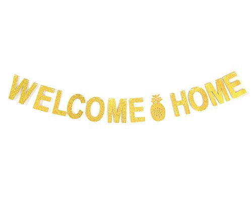 Andgo Welcome Home Gold Glitter Banner Pineapple Bunting for Home Decoration Family Party Supplies Photo Booth Props (Home Party Supplies)