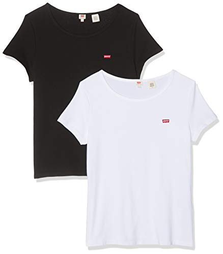 Levi's Camiseta, Multicolor (2 Pack tee White +/Mineral Black 0000), Small para Mujer
