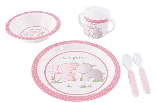 Bieco 04000267 Geschirrset mit Tiermotiv, 5-teiliges Set, Kindergeschirr aus Melamin, Geschirr für Kleinkinder, rosa