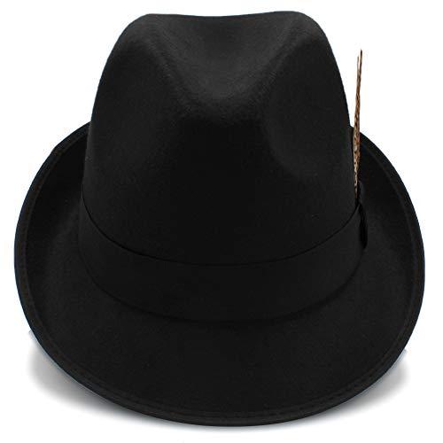 Wenquan-caps, 2018 Sombreros Fedora Hat, Inglaterra Style Fedora Jazz Hat Men Vintage Lana Fieltro Invierno Sombrero Panama Cap (Color : Negro, tamaño : 56-58cm)