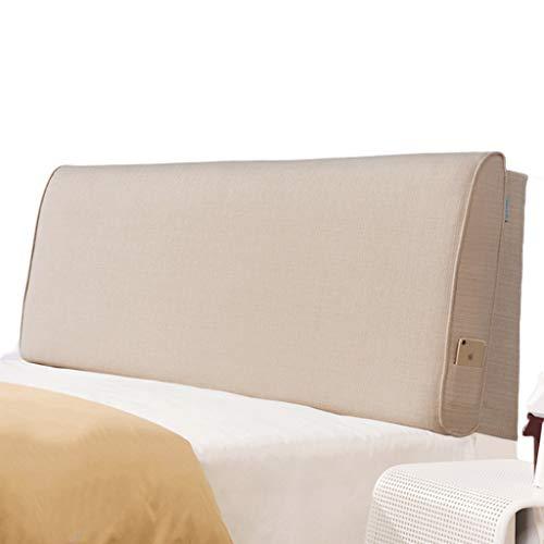 HIGJ Queen-Size-Kissen Volltonfarbe Baumwolle und Leinen weiches Kopfteil Bettrückenlehne abnehmbare Positionierung Unterstützung (Color : Linen, Size : No Bedside Queen Size) (Queen-size Kopfteil)