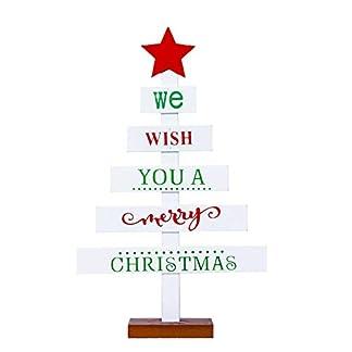 Daliuing 1 Piezas Decoraciones navideñas Adornos Letras pintadas árbol de Navidad Tarjetas de Mesa decoración navideña de Puertas Materiales de Madera decoración navideña para casa Multicolor