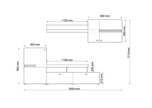 Wohnwand JET, Anbauwand, Wohnzimmer Möbel, mit Beleuchtung - 2