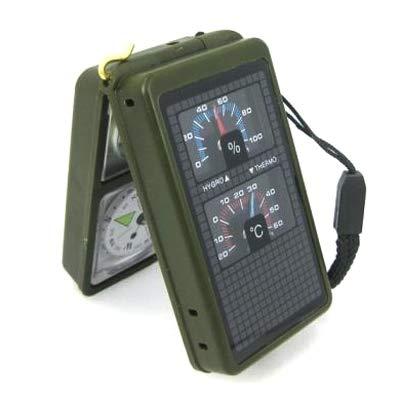 WARM home Kreativ 10 in 1 tragbarer Multifunktionskompass (Thermometer, Hygrometer, LED-Licht, Reflektor, Wasserwaage, Kompass, Pfeife, Feuerstein, Lupe, Lineal) Multifunktion