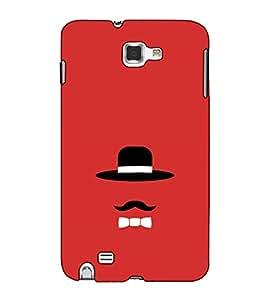 Fuson Designer Back Case Cover for Samsung Galaxy Note 2 :: Samsung Galaxy Note Ii N7100 (The hat and the mustach theme)