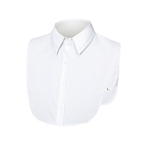 LK LEKUNI LeKuni Frauen Kragen Abnehmbare Hälfte Shirt Bluse - Baumwolle (White) (Kragen Bluse)