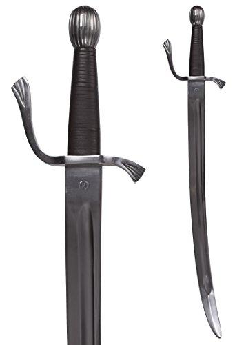 Ulfberth Falchion mit Lederscheide, Schaukampf, SK-B/Schwert - Schaukampfschwert Mittelalter Ritter-Schwert echt Metall - Schwerter Frau Kostüm