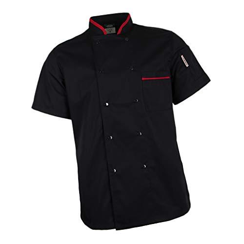 F Fityle Atmungsaktive Kurzarm Kochjacke Bäckerjacke mit verdeckten Druckknöpfen Berufsbekleidung Oberteile Kochhemd Restaurant Mantel Jacke - Schwarz, 3XL (Koch-hemd)