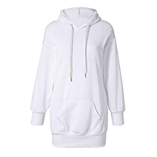VECDY Damen Pullover,Räumungsverkauf- Frauen Mode Einfarbig Kleidung Hoodies Pullover Mantel Hoody Sweatshirt Modern Pulli Sweatshirt Langarmhemd einfarbig Baggy Blouse Hoodie (40, Weiß)