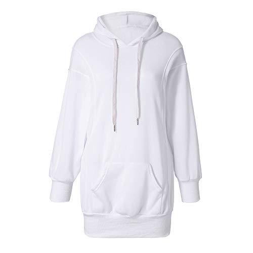 emp batman SuperSU Frauen Mode Einfarbig Kleidung Hoodies Mantel Hoody Damen Langarm Hoodie Stretch Sweatshirt Midi Kleider mit Taschen Mode Pullover Winterkleider Kleid Hip Hop Strickkleider (S, Weiß)