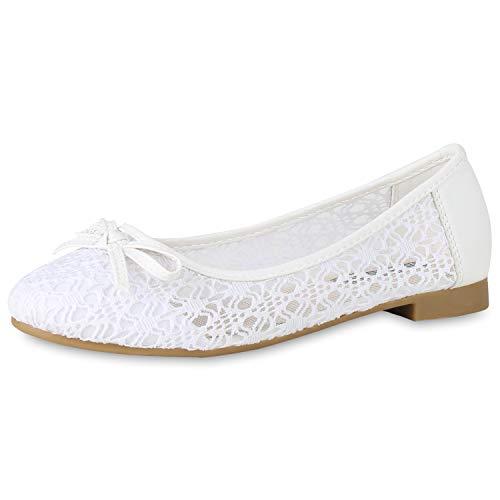SCARPE VITA Klassische Damen Ballerinas Spitzenstoff Schleifen Flats Slippers 154273 Weiss Schleifen 39 (Weiße Ballet Flat)