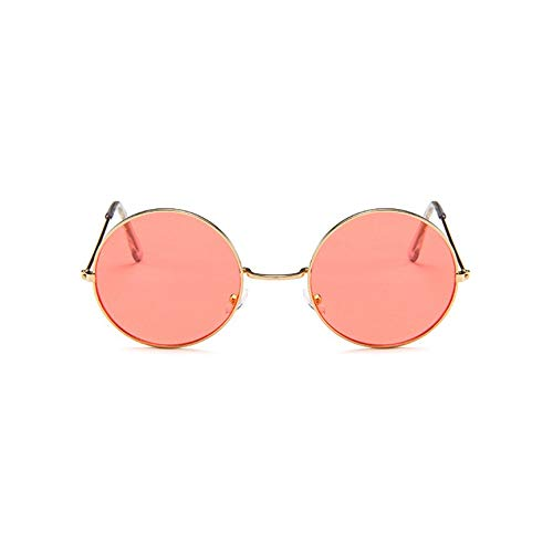 Peanutaoc Sonnenbrille, europäische und amerikanische Brille, rund, Metallrahmen, Sonnenbrille, Retro-Linse