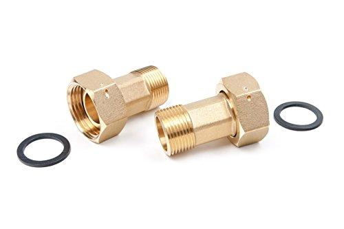 Wasserzähler Verschraubungen 1 Zoll Überwurfmutter x 3/4 Zoll Aussengewinde MS blank, 2 Stück, 3530220025