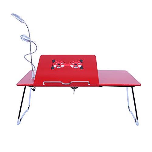 Exing Laptop-Schreibtisch-Höhen-Winkel-justierbares im Freien faltendes Tabl mit Kühlkörper-tragbarer Grill-Tabellen-Studenten-faulen Tisch-Bett-Klapptisch (Farbe : Rot, Größe : 65 * 31 * 28cm) -