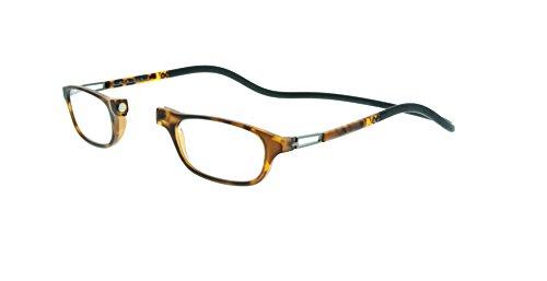 Neu Slastik Magnetisch Clic Stil Lesebrille Rahmen Leia 017 mit weichem Behälter, Verstellbare Bügel & Antireflektierende Brillengläser Dtr +3.0
