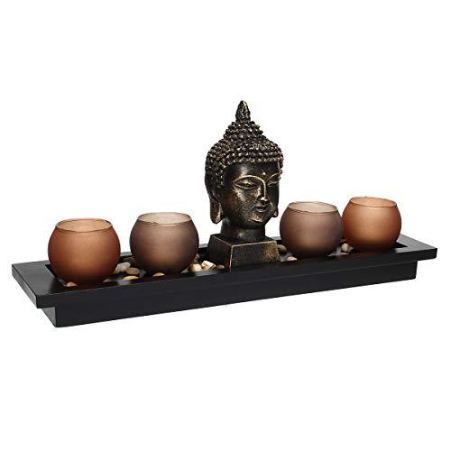 Jeteven Keramik Räucherstäbchenhalter Rückfluss Räuchergefäß Luftbefeuchter für Freies Kegel ''Dragon Lotus Pond'' Aromatherapie Räucherstäbchen Rückfluss Weihrauch (Buddha Head Ornament)